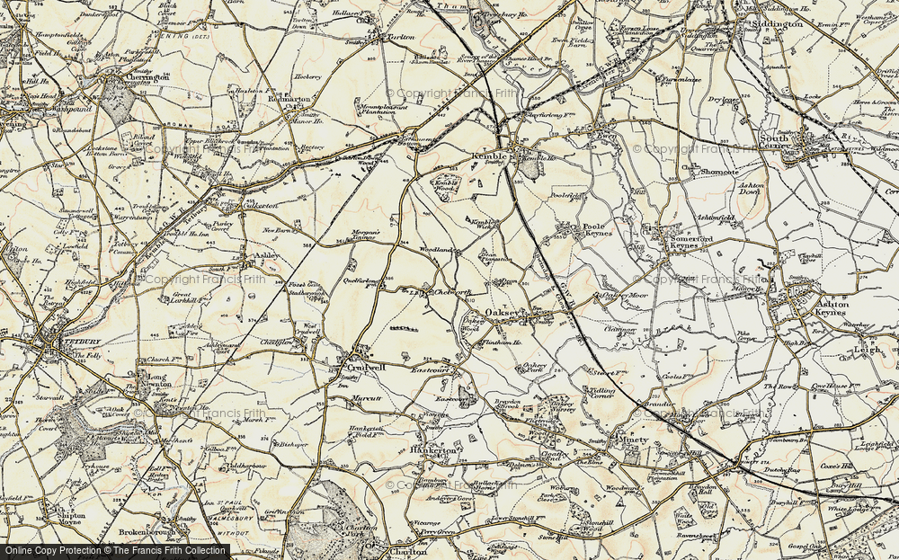 Old Map of Historic Map covering Woodlands in 1898-1899