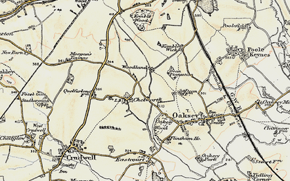Old map of Woodlands in 1898-1899