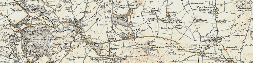 Old map of Cherhill in 1899