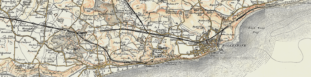 Old map of Cheriton in 1898-1899