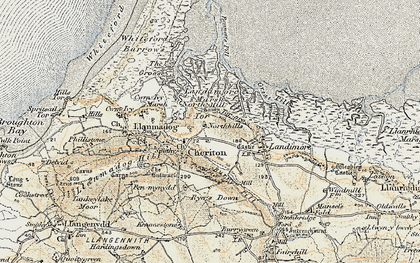 Old map of Cheriton in 1900-1901
