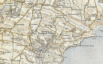 Old map of Cheriton in 1901-1912