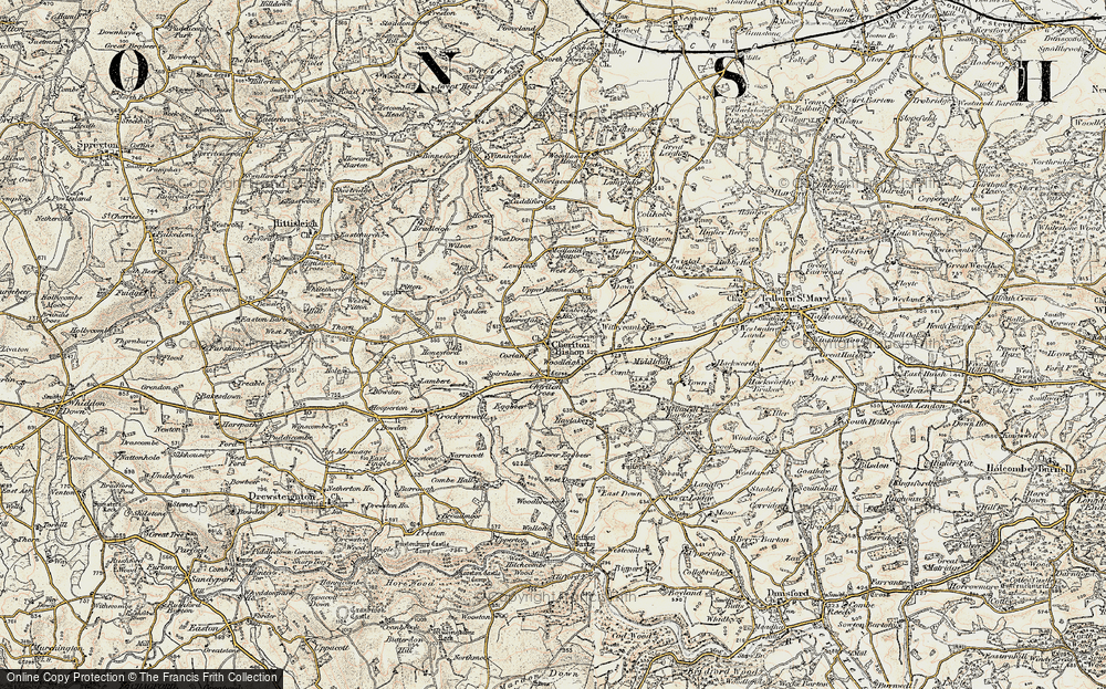 Old Map of Historic Map covering Woodleigh in 1899-1900