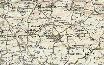 Old map of Cheriton Fitzpaine in 1899-1900