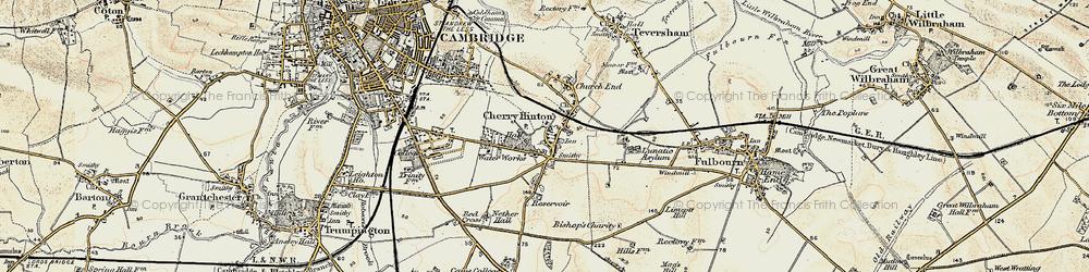 Old map of Addenbrooke's Hospl in 1899-1901
