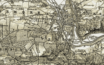 Old map of Woodlands in 1906-1908