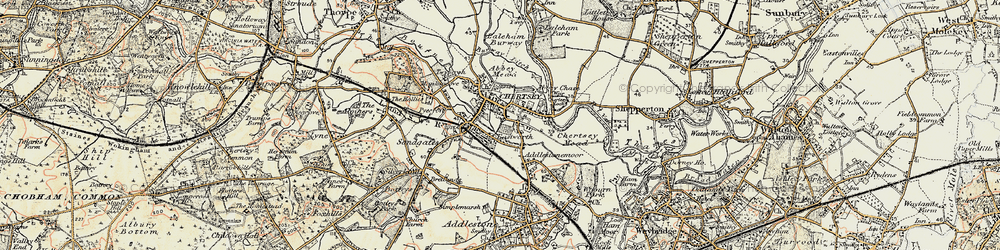Old map of Chertsey in 1897-1909