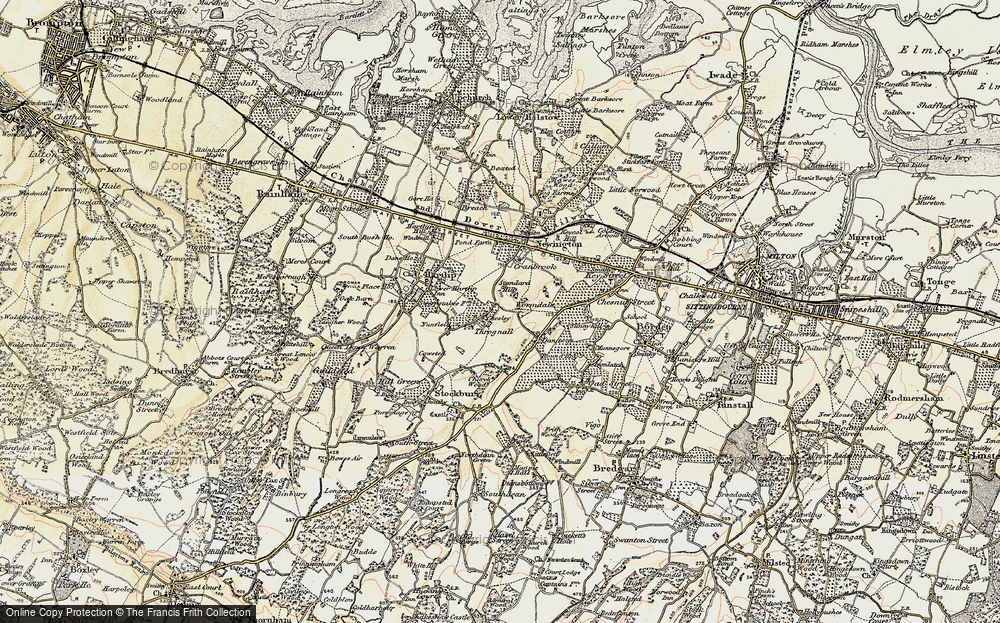 Old Map of Historic Map covering Wormdale in 1897-1898