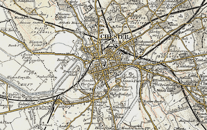Old map of Chester in 1902-1903