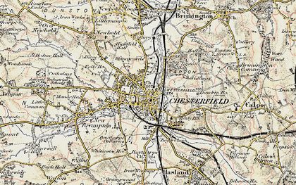 Old map of Chesterfield in 1902-1903