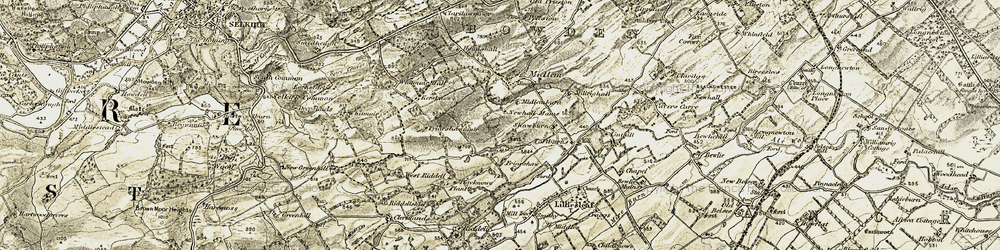 Old map of Toftbarns in 1901-1904