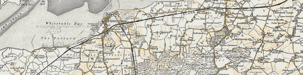 Old map of Chestfield in 1898-1899