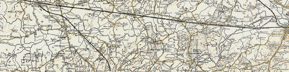 Old map of Chiddingstone in 1898