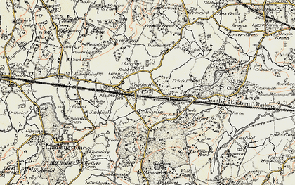 Old map of Chiddingstone Causeway in 1897-1898