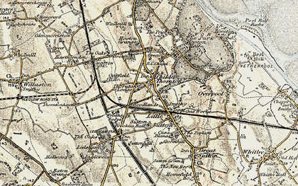 Old map of Childer Thornton in 1902-1903