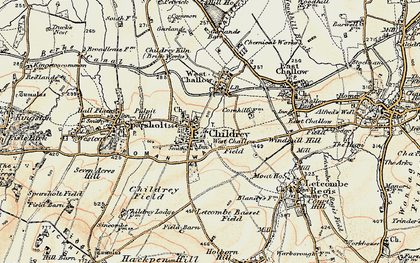 Old map of Childrey in 1897-1899