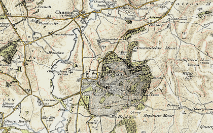 Old map of Chillingham in 1901-1903