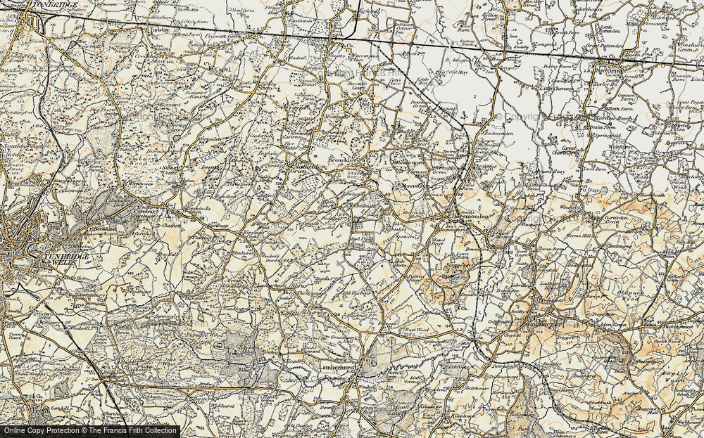 Old Map of Historic Map covering Tibb's Court in 1897-1898