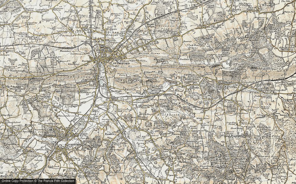 Old Map of Historic Map covering Wonersh Common in 1898-1909