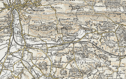 Old map of Wonersh Common in 1898-1909
