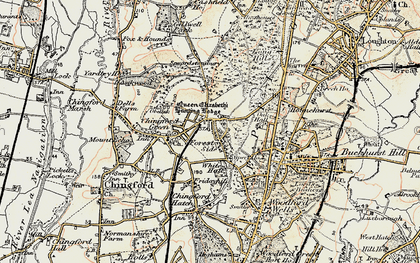 Old map of Chingford in 1897-1898