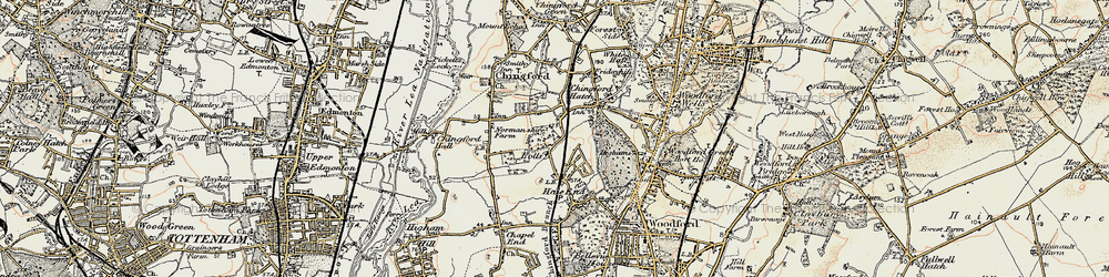 Old map of Chingford Hatch in 1897-1898
