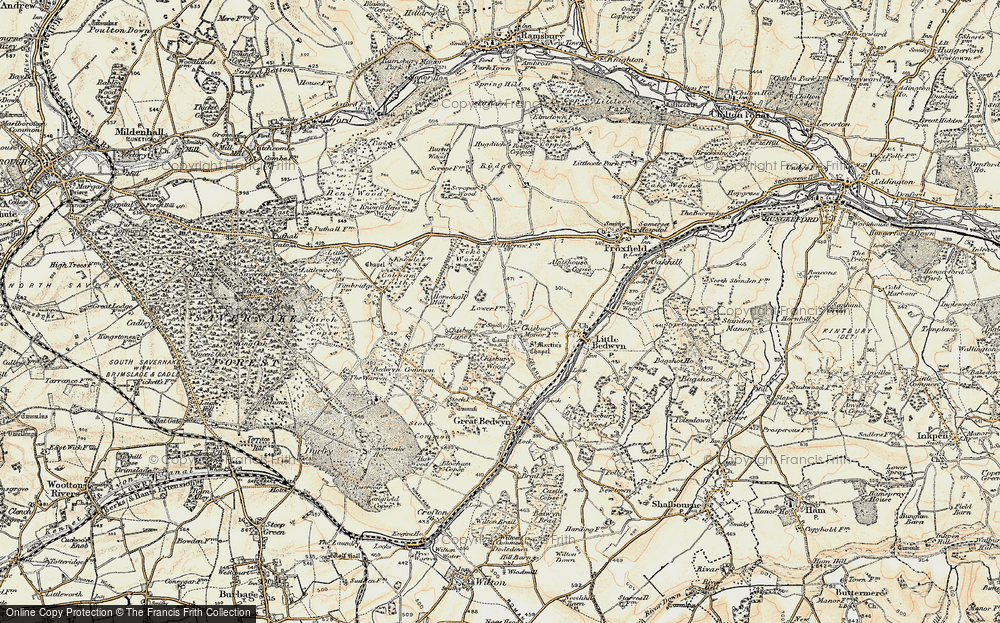 Old Map of Historic Map covering Almshouse Copse in 1897-1899