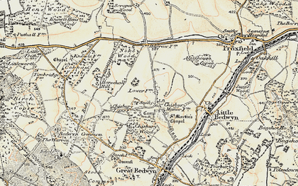 Old map of Almshouse Copse in 1897-1899