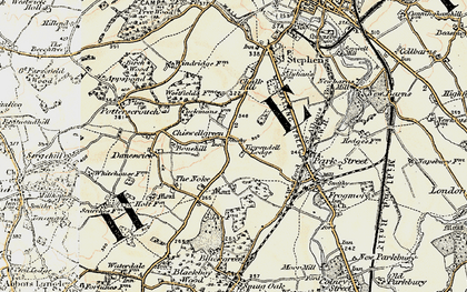 Old map of Chiswell Green in 1897-1898