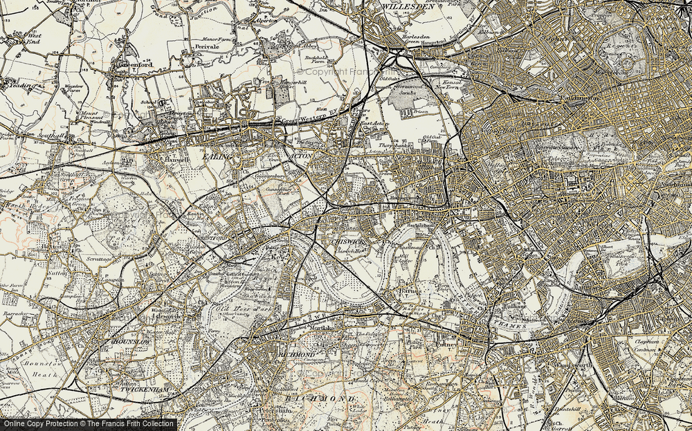 Old Map of Chiswick, 1897-1909 in 1897-1909