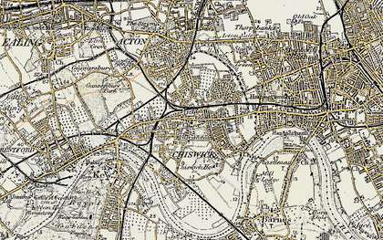 Old map of Chiswick in 1897-1909