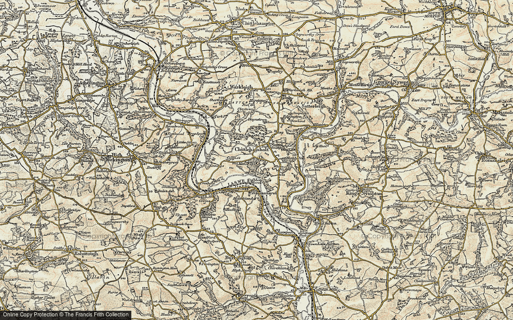 Old Map of Historic Map covering Abbot's Marsh in 1899-1900