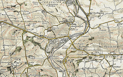 Old map of Chollerford in 1901-1903