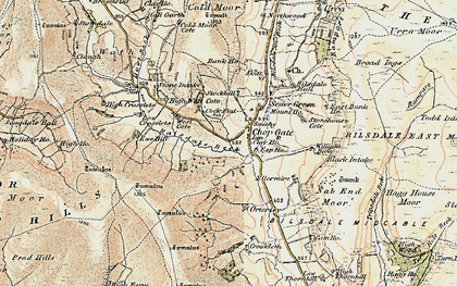 Old map of Barker's Crags in 1903-1904
