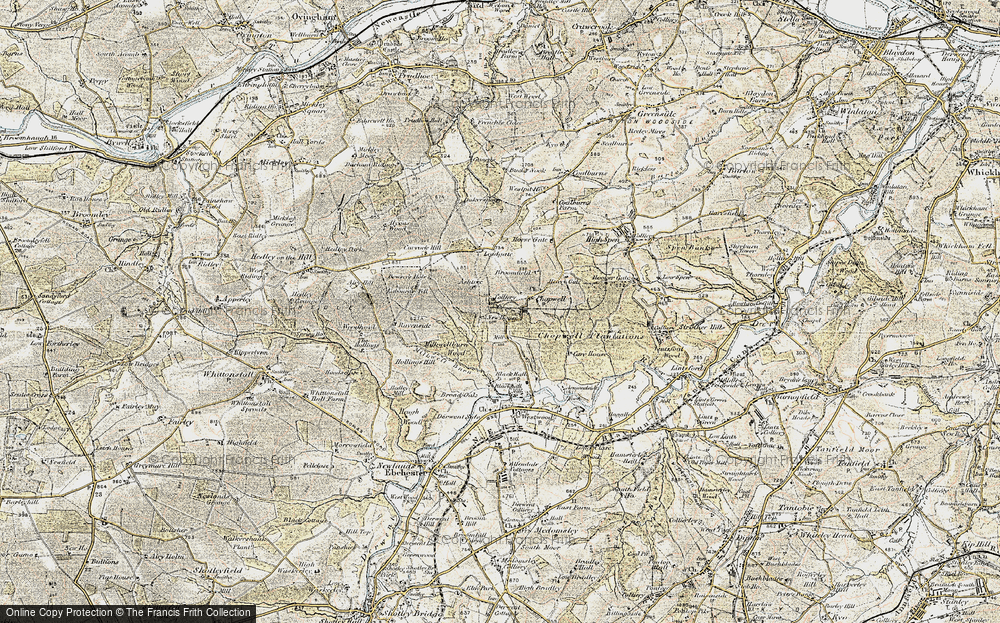 Old Map of Historic Map covering Ashtree in 1901-1904