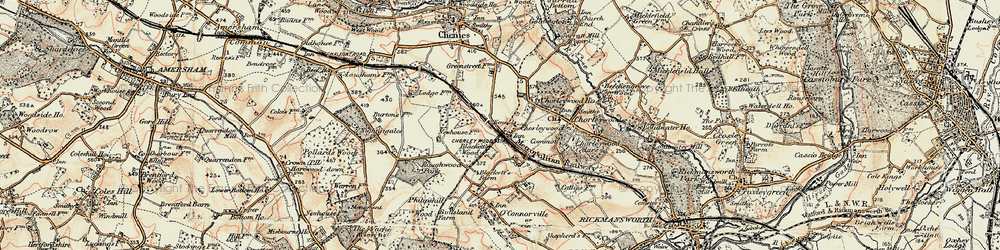 Old map of Chorleywood in 1897-1898