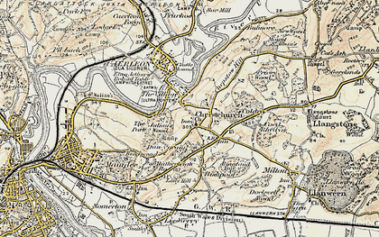 Old map of Christchurch in 1899-1900