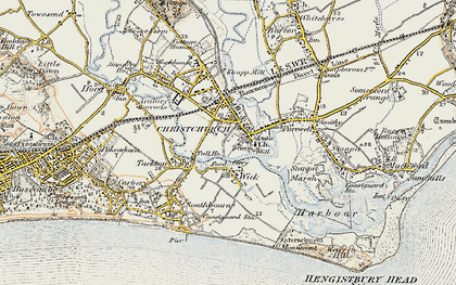 Old map of Christchurch in 1899-1909