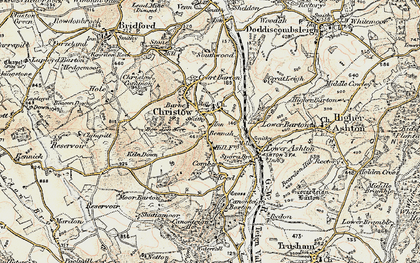 Old map of Christow in 1899-1900