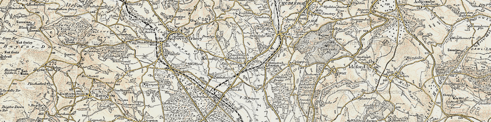Old map of Chudleigh Knighton in 1899-1900