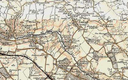 Old map of Church End in 1897-1898