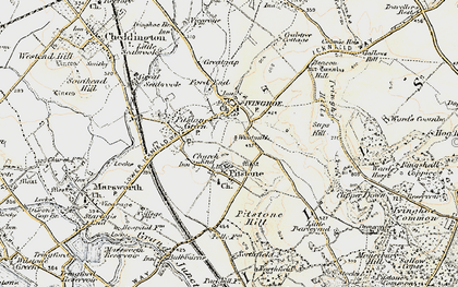Old map of Church End in 1898-1899