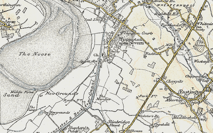 Old map of Church End in 1898-1900