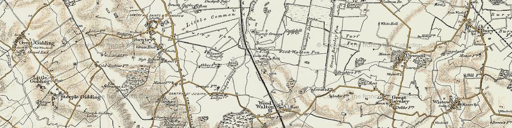 Old map of Woodwalton Fen in 1901