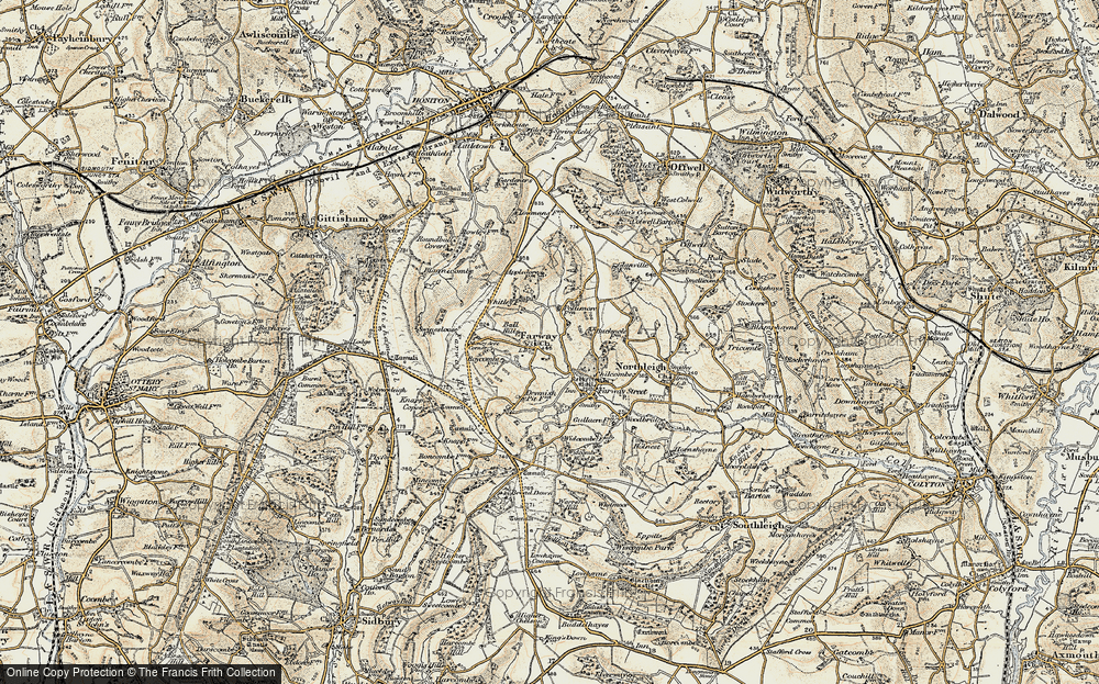 Old Map of Historic Map covering Ball Hill in 1898-1900