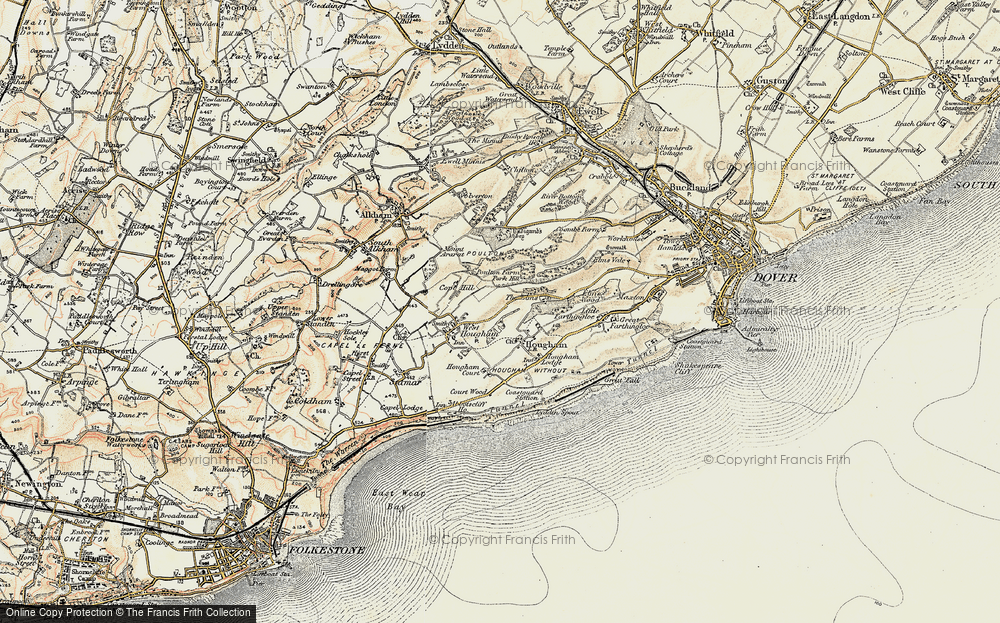 Old Map of Historic Map covering Abbot's Cliff in 1898-1899