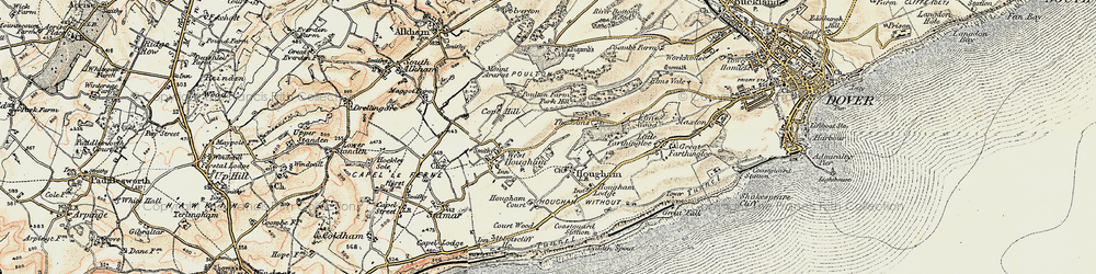 Old map of Abbot's Cliff in 1898-1899