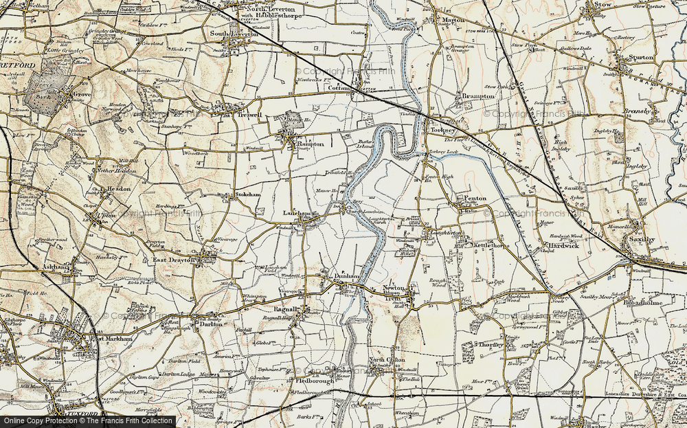 Old Map of Historic Map covering Laughterton Marsh in 1902-1903