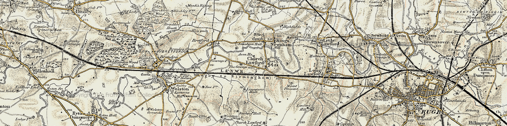 Old map of Limestone Hall in 1901-1902