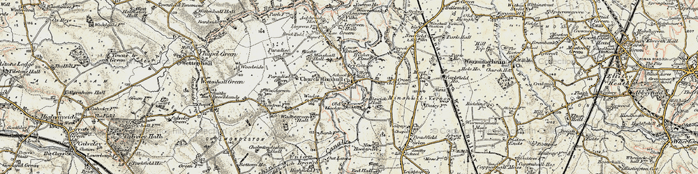 Old map of Church Minshull in 1902-1903